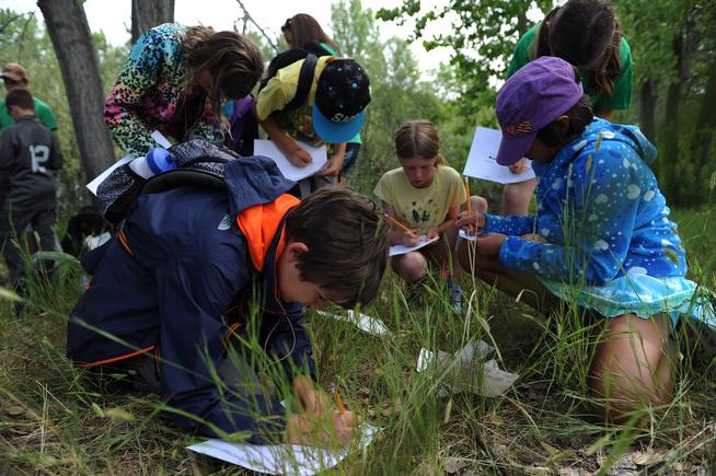 LITTLETON, CO - JUNE 22: Gavin Solari, 9, left, writes down the steps of evaporation in his journal during an Owl's Roost Program at South Valley Park in Littleton, Colorado on June 22, 2015. The Eagle's Nest and Owl's Roost programs give fourth- and fifth-grade students an outdoor education opportunity for one week during the summer. The program has expanded to included 6th-grade students as well. (Photo by Seth McConnell/The Denver Post)